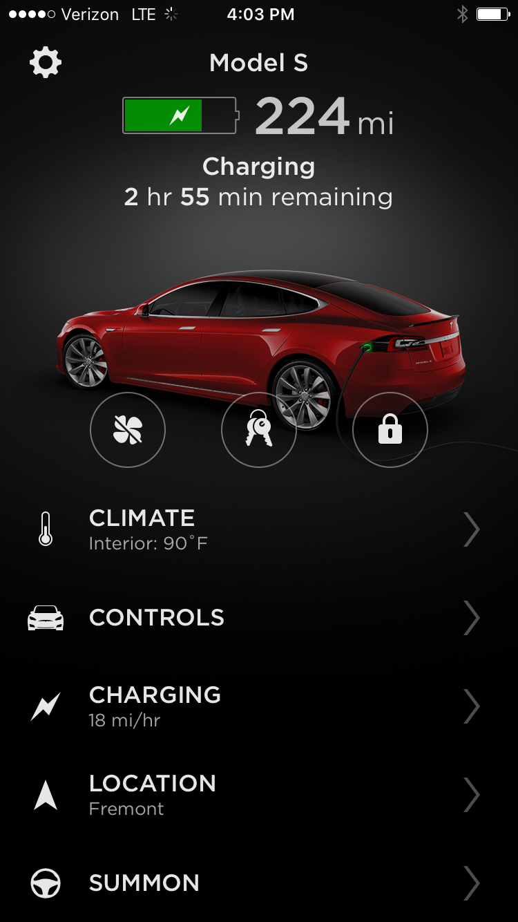 Tesla App – Model S Home Screen