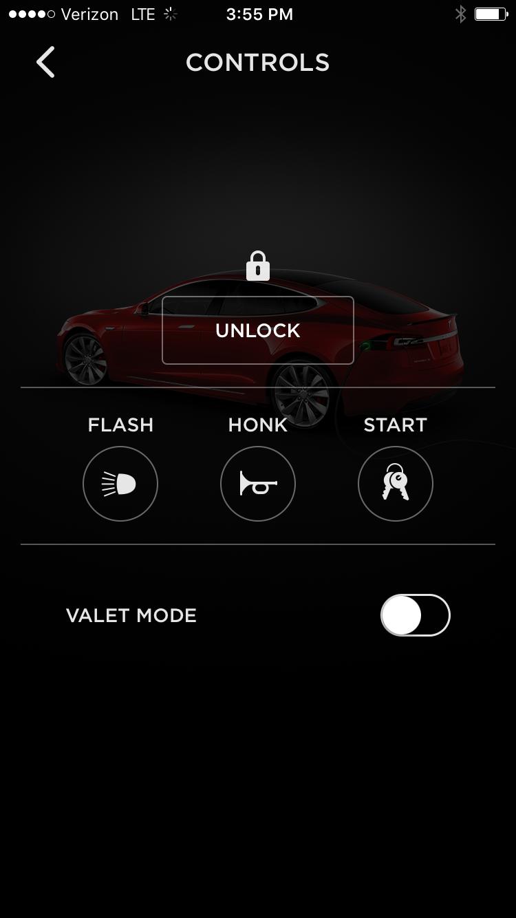 Tesla App – Model S Quick Controls