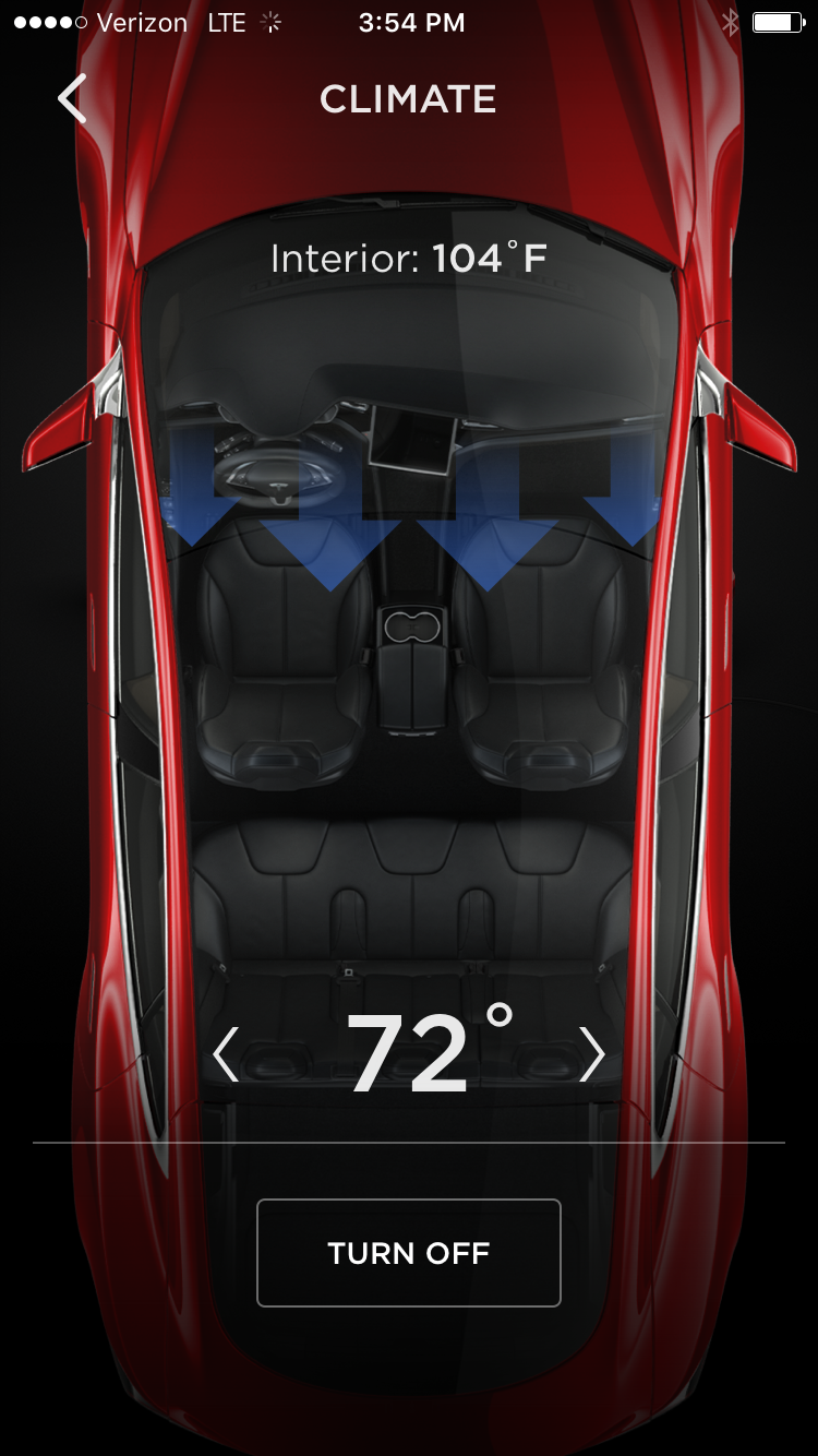 Tesla App – Model S Temperature Control