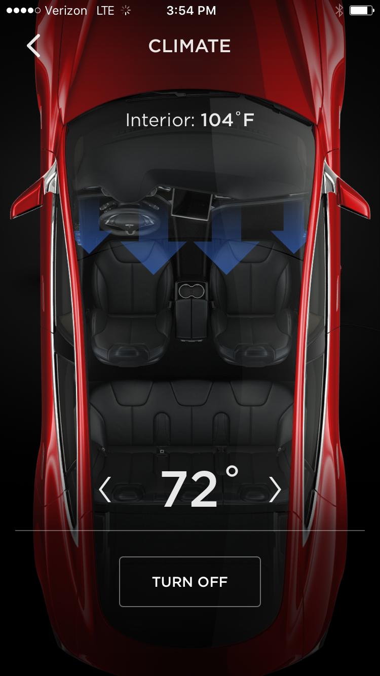 Tesla App – Model S Temperature Control